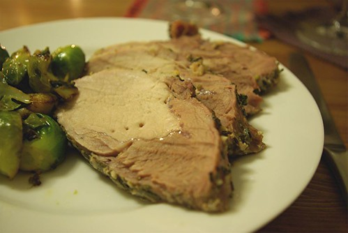 roast pork with sprouts
