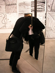 Paul looking in the Infinity Mirrored Room - Love Forever, at the Yayoi Kusama exhibition at the Victoria Miro Gallery, London, February 2008.