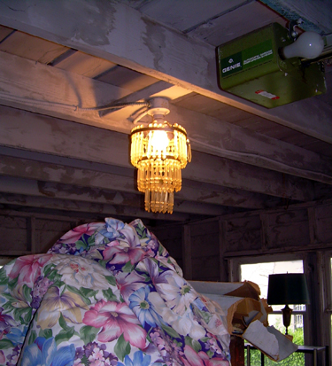 Chandelier in garage