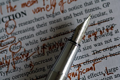 photo of scribbled edits on science writing
