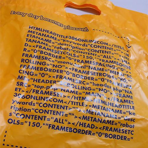 HTML-Kauderwelsch auf Plastiktüten‽