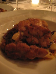 Crisp Veal Sweetbreads with Duck Confit and some kind of root veg