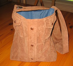 Recontructed leather shirt bag