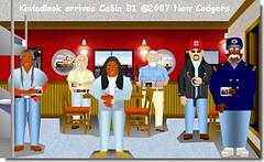 Kiwindinok arrives Cabin B1 ©2007 New Codgers