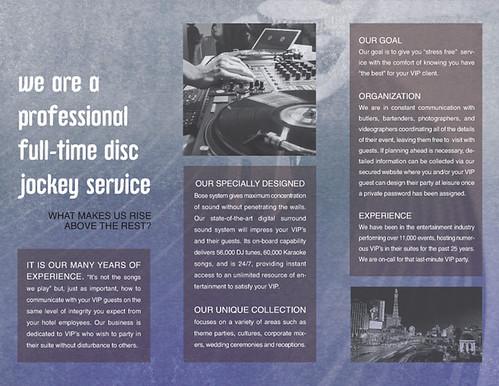Suite Sound Brochure Design for DJ Vegas, Inside