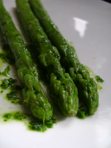 Wild Garlic Butter Over Asparagus