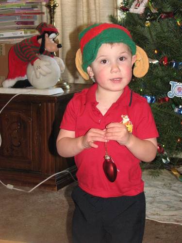 Jacob Elf with his Heart Ornament
