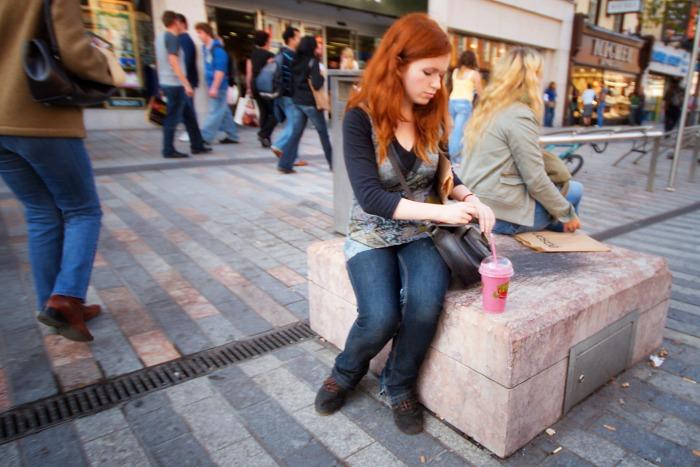 Redhead on the street