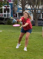 Heidi catches the frisbee