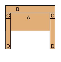 Headboard - diagram, back, assembled