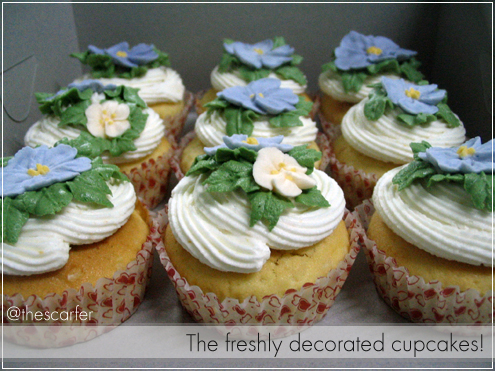 The freshly decorated cupcakes!