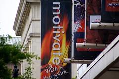 Motivate banner outside museum