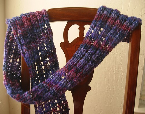 Handspun scarf!  You could knit until you run out of yarn easily with this one.