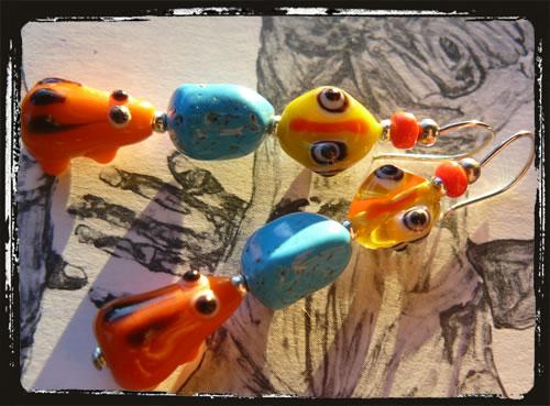 Orecchini fatti a mano vetro Murano - Venetian lampwork Handmade Earrings MEHCATG