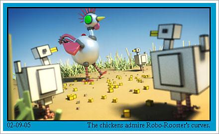 chicken and robot cartoon