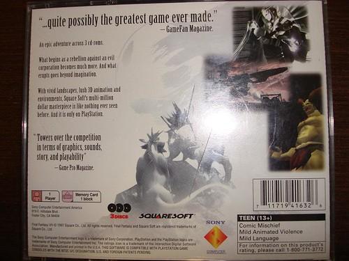 Meu Final Fantasy VII - Costas
