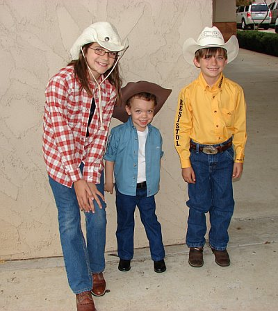 Grant with cousins - Jack and Hannah - ready for the rodeo