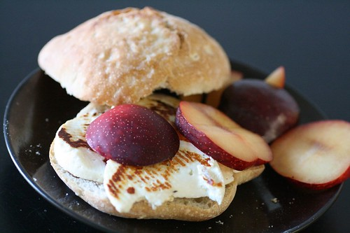 Fried cheese and plum sandwich