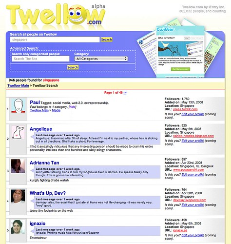 Twellow search ranks Singapore twitter users