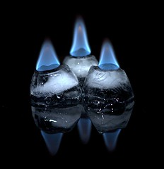 Can a flame exist over ice?
