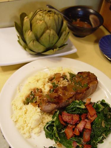 Tri-tip, chard with bacon, artichoke