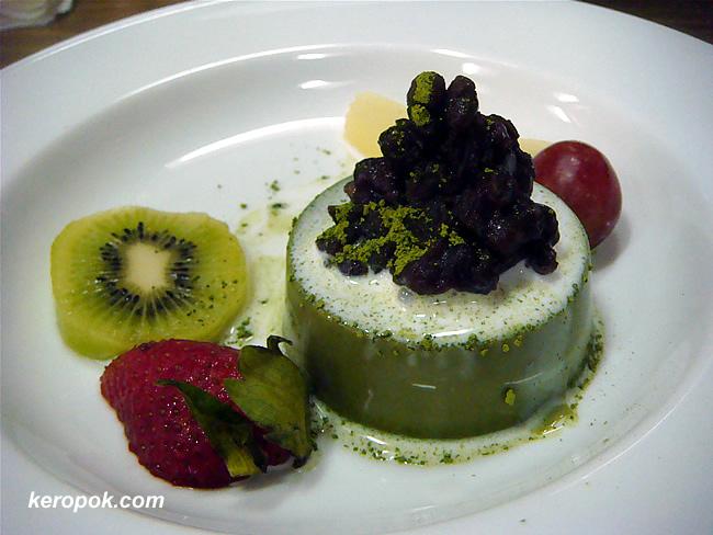 Green Tea Pudding served with Azuki