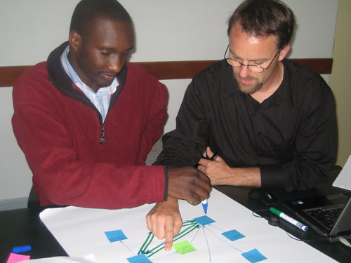 Petr and Daniel working on a ASARECA project network map