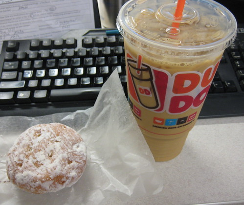 donut, Large Iced Coffee