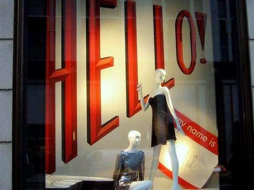 Hello! Window Display At Bergdorf Goodman NYC