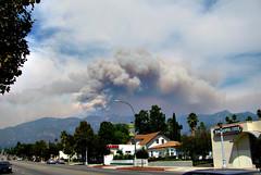 Station Fire smoke over Mt. Wilson