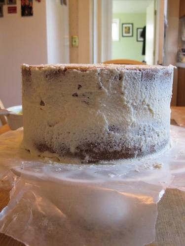 Mom's Birthday Cake - Crumb Coat