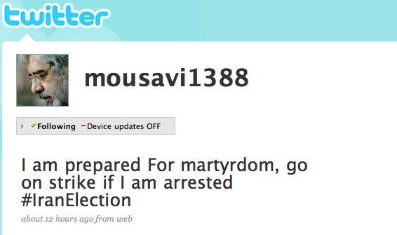 Mir-Hossein Mousavi - Last Twitter