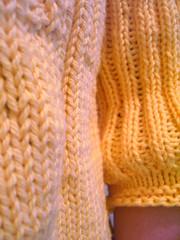 yellow jumper - sleeve