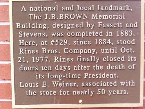 529 Congress Street, Portland, ME plaque mentions Estha's dad. 08/08/09
