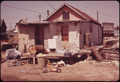 Unsewered House at Hunter's Point, Adjacent to the John F Kennedy Airport. This Community Suffers from Aggravated Noise and Pollution Problems 05/1973