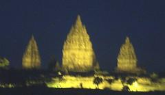 Prambanan lit at night