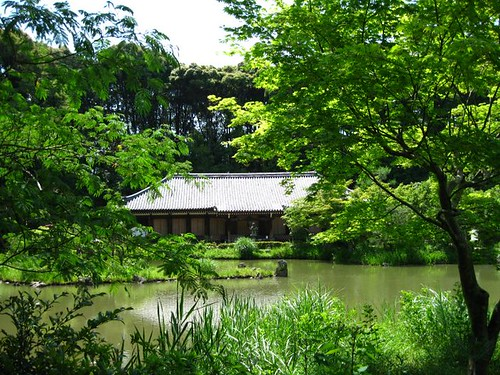 Joruriji Temple across pond