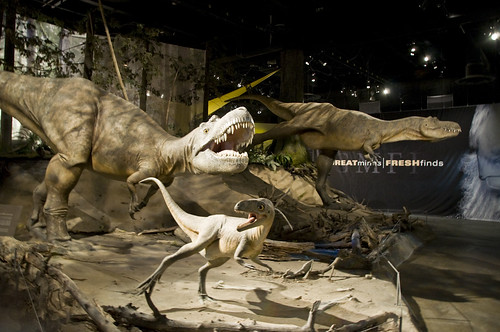 Dinosaur models welcome visitors to the Royal Tyrrell Museum of Palaentology