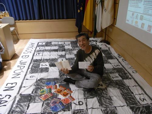 El inventor del Sudoku Maki Kaji en la Universidad de Cordoba.