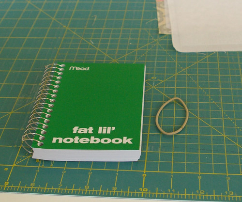 set fabric aside and get your notebook and elastic by you.