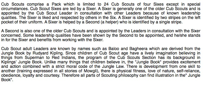 screenshot of scout blurb calling Red Indians imaginary