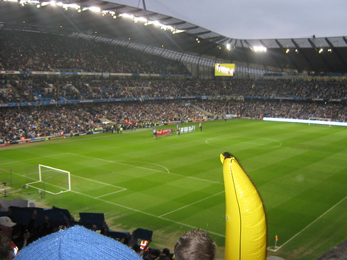 The Colin Bell Stand and the North Stand, complete with inflatable banana