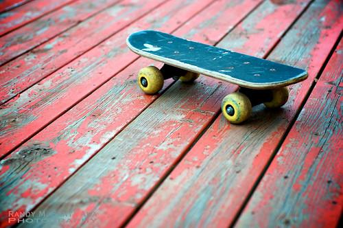 Mini Skateboard On Red Deck