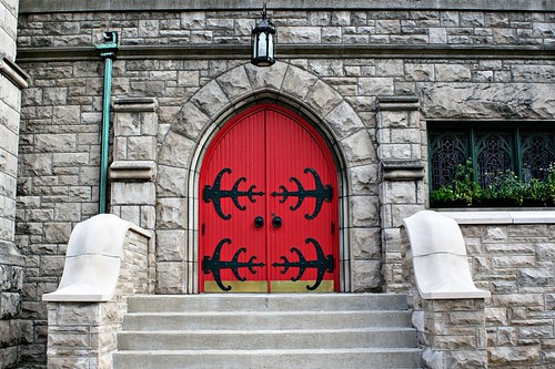 A church with a red door.