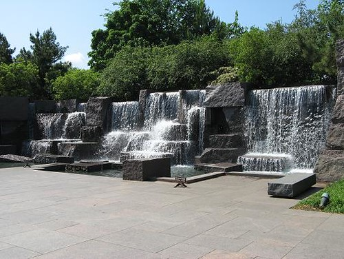 One of the fountains at the FDR Memorial