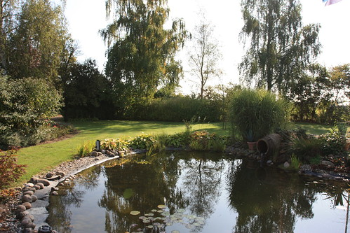 The pond at the front side of the house