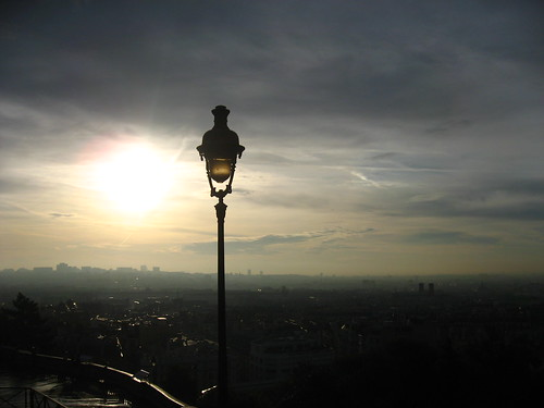 Sun-rising over Paris from Sacre-Coeur