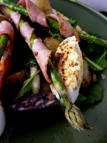New Potatoes , Asparagus , Bacon &  Duck Egg Warm Salad by you.