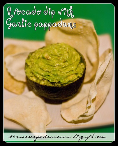 Quick and Easy Avocado dip with Garlic Pappadums