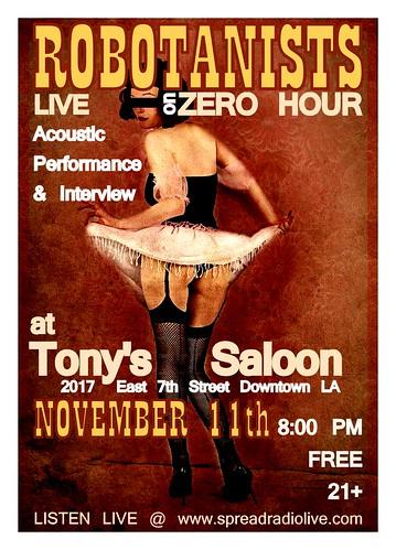 ROBOTANISTS @ Tony's Saloon on ZERO HOUR RADIO / 11.11.09